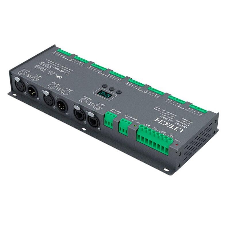 Novo LT-932-OLED 32ch DMX-PWM decodificador; DC12-24V de entrada; 3a * 32ch max 96a 2304 w saída rgb/rgbw tira controlador XLR-3/rj45