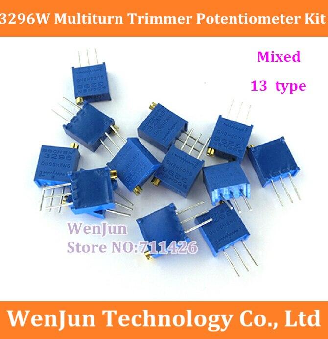 50 pzas/lote envío gratis 3296 W multivuelta potenciómetro de ajuste de alta precisión 3296 resistencia Variable mezclado 13 tipo
