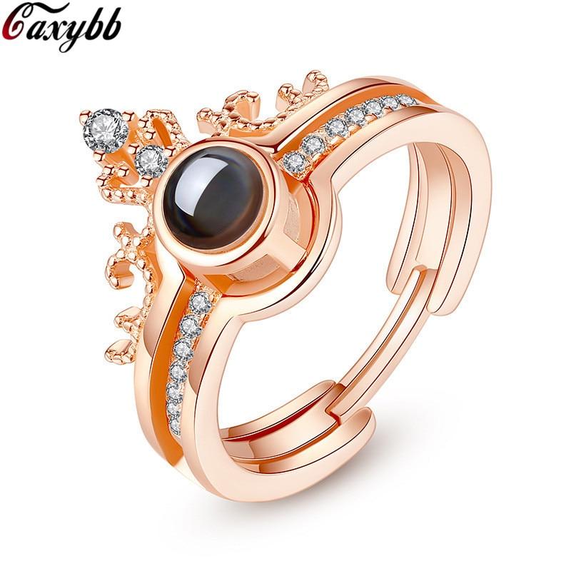 Corona de lujo 100% plata de ley S925 100 idiomas proyección te amo anillos para hombres mujeres chicas amantes anillo de boda