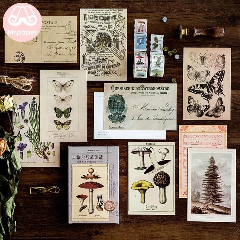 mrpaper-30-unids-caja-postales-de-estilo-retro-clasico-con-estampado-de-plantas-y-animales-del-bosque-antiguo-postales-de-regalo-de-felicitacion-creativas