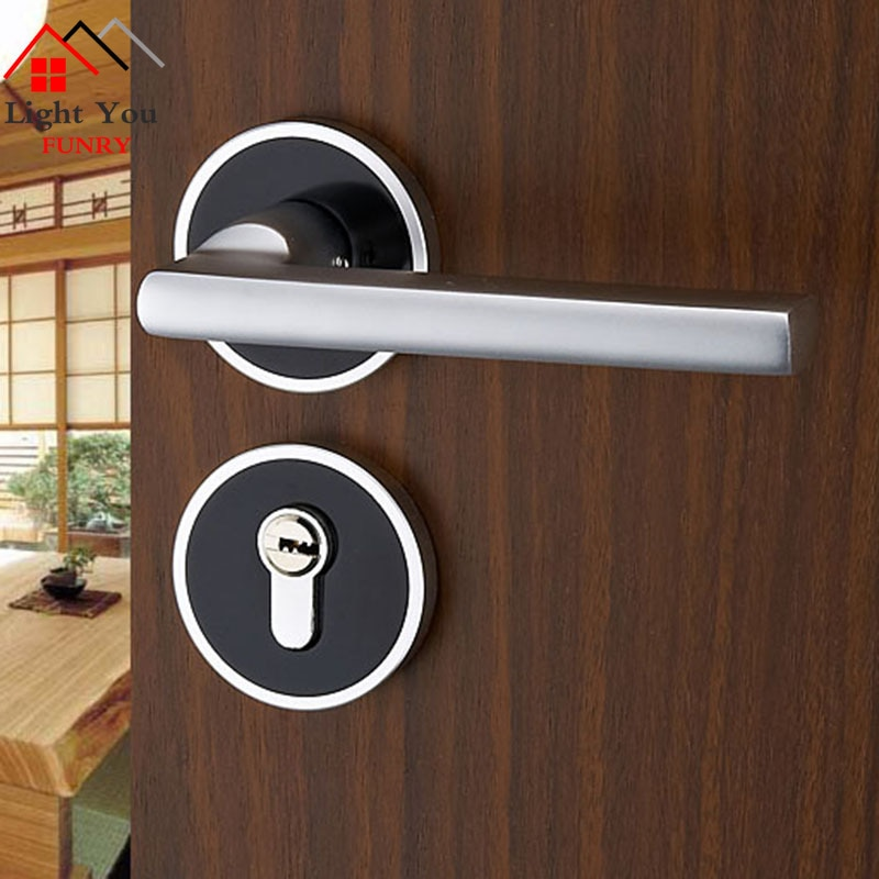 قفل باب من الألومنيوم ، أسود ، فتحة غرفة نوم ، محمل ميكانيكي