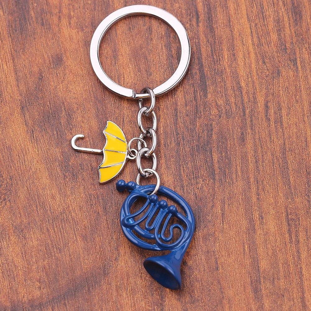 TV Series How I Met Your Mother Key chain Enamel Blue Horn umbrella pendant keychains women men key holder keyring gifts Jewelry