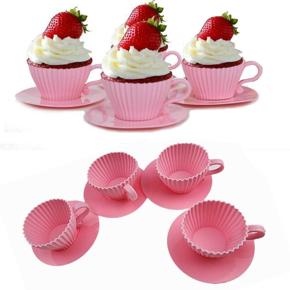 4-pacote útil ajudantes forma de chá muffin bolo moldes tarde chá cupcake molde de grau alimentício silicone bolo decoração ferramenta