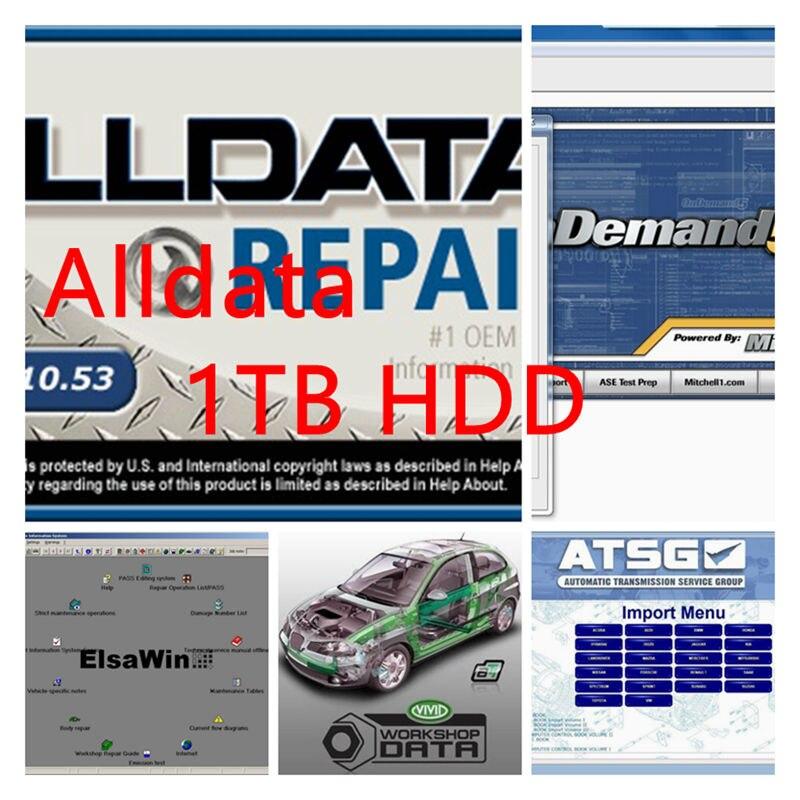 2020 alldata 10.53 1tb hdd todos os dados software de reparação automóvel mit//chell od5 2015 vívidos dados atsg elsawin tis2000 1000gb