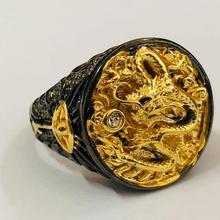 1 pieza anillos de dragón Vintage pistola negra oro Animal masculino anillo moda gótica punk joyería de fiesta estilo chino