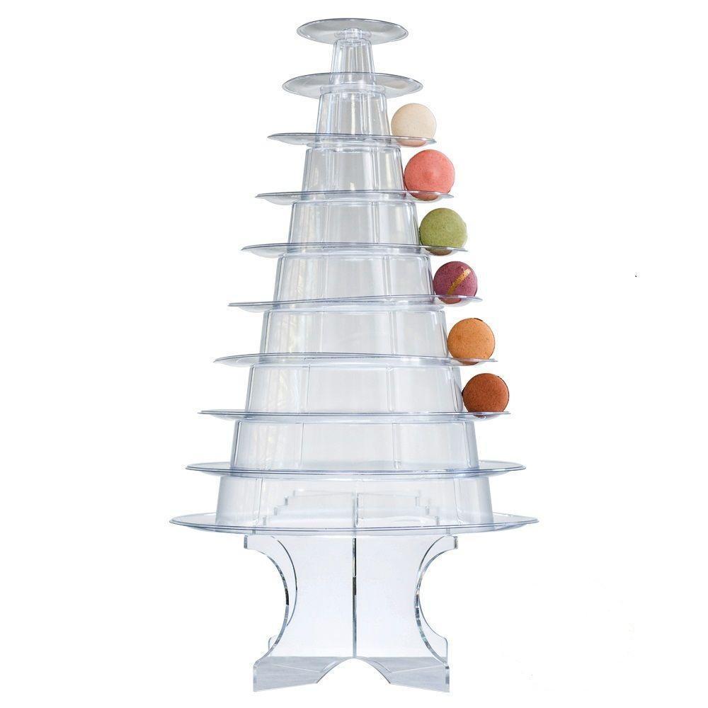 Herramienta para pastel de decoración de la boda, 10 niveles de torre de macarrón, expositor plegable para macarrón, soporte para decoración de postres y fiestas de cumpleaños