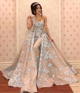Arabic Luxury Mermaid Evening Dresses With Detachable Train Beads Lace Appliqued Prom Gowns Elegant Formal Party Pageant Dress