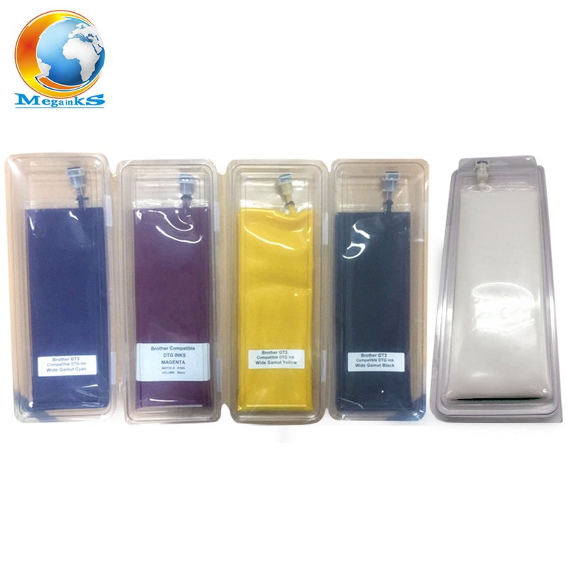Impresora Digital de inyección de tinta, 5 bolsas, 380ML, DTG, serie GT-3 Brother GT-341 GT-361 GT 341 361 381, color blanco negro C M Y