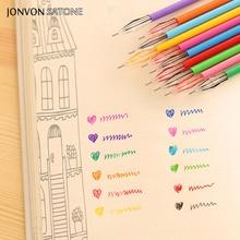 Jonvon Satone 12 couleurs/lot couleur stylo coréen créatif papeterie noyau forage pierre couleur neutre stylo 0.38 Mm bureau papeterie