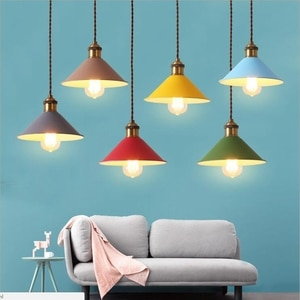 Lukloy Fashion LED Pendant Lights With Metal Lampshade Lamparas Colgantes Modern Nordic Hanging Lamp for Parlor Dinning Room Bar