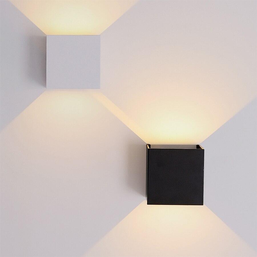 Lámparas de pared IP65 impermeables de 6W 12W, lámpara Led de pared para exterior de aluminio ajustables, superficie de cubo montado, luces Led para porche y jardín