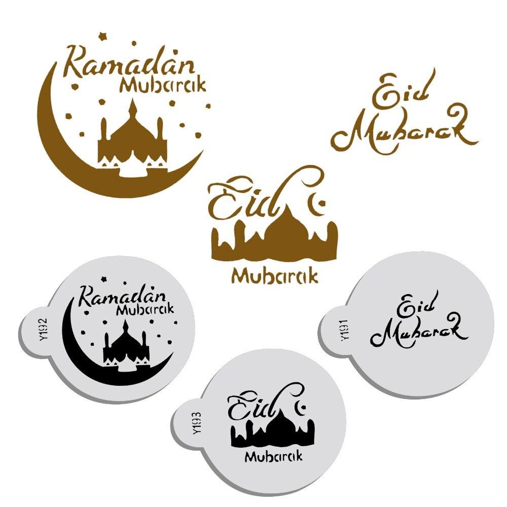 3 unids/set PET Mosque Eid Mubarak Ramadán diseño café plantillas, corte láser galletas con fondant torta decoración herramientas