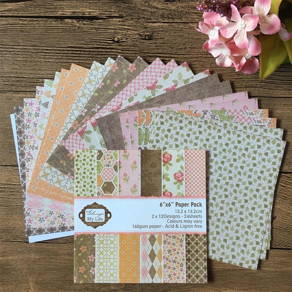 24 Uds 6*6 pulgadas cambiar mi vida patrón Paquete de papel para Scrapbooking DIY planificador feliz tarjeta haciendo diario proyecto