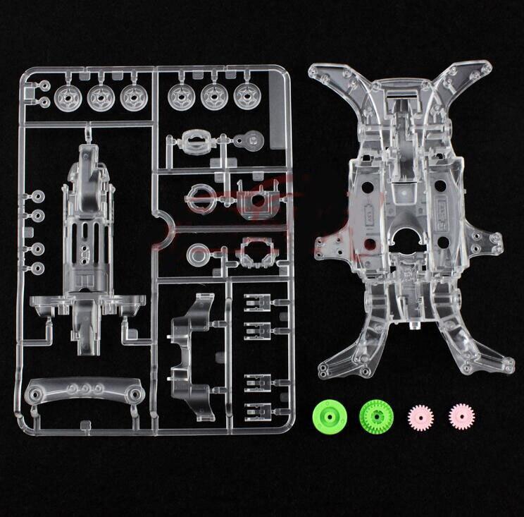 Ма-корпус с 3,5: 1 комплектом редукторов для моделей гоночных автомобилей Tamiya Mini 4WD, запасные части 92313 95052, прозрачная рама, розовый/зеленый/красный/Wh