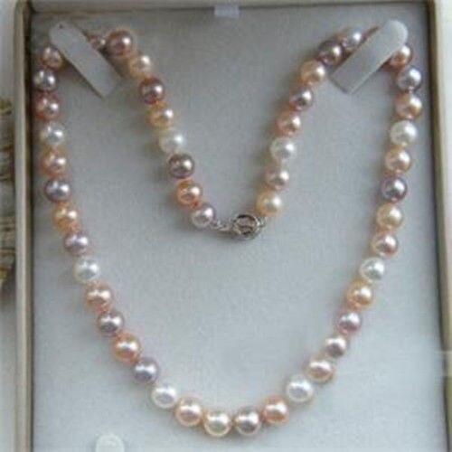 "Hot & Pretty 8 MM Multicolor Akoya Shell collar de perlas 18 "" HYUG5778"