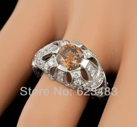 2 0ct solid 14k white gold natural flawless citrine diamodn ring