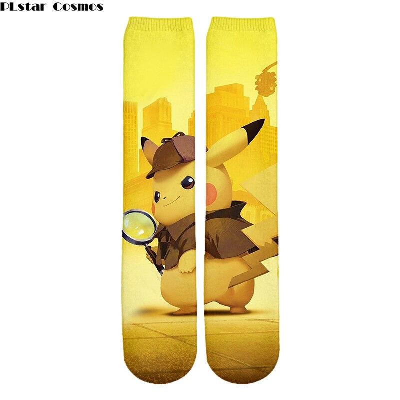 Kawaii Harajuku Pokemon New Detective Pikachu Socks 3D Printed Cartoon Men/Women's Crew Socks Novelty teens Casual Socks Meias