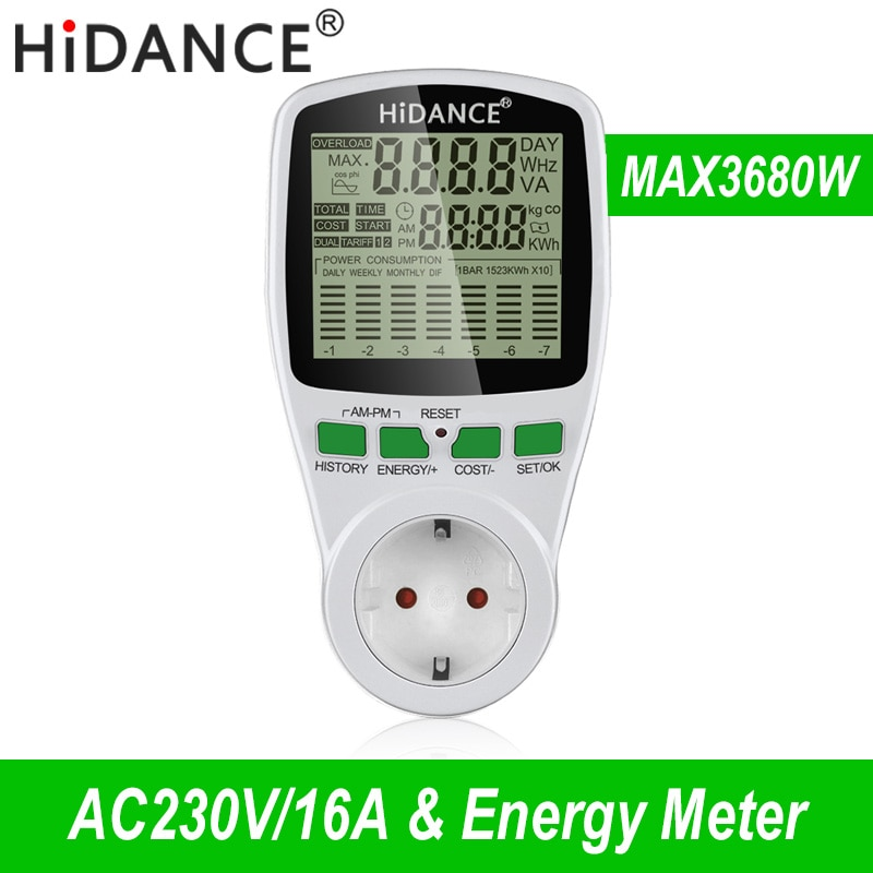 HiDANCE AC Power Meters 220v digital wattmeter eu energy meter watt monitor electricity cost diagram Measuring socket analyzer