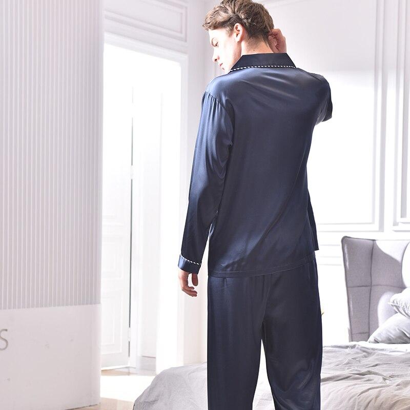 Искусственный шелк пижамы 2020 весна осень новинка шелк лед шелк одежда для сна мужская с длинным рукавом темно-синий синий пижама комплекты X9001