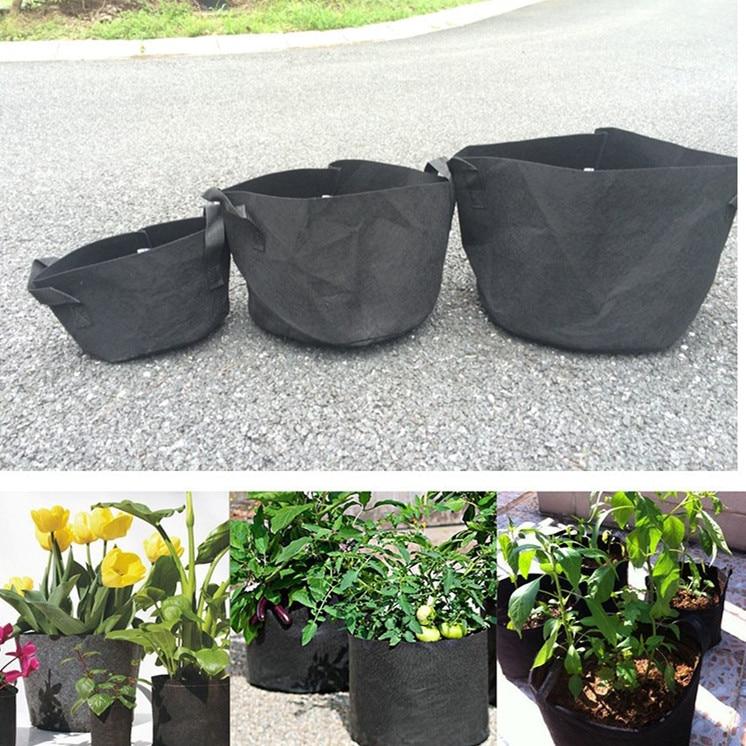 10 قطعة 7 جالون النسيج مصنع الأواني الخضار الحقيبة الجذر حاويات جولة تهوية وعاء الحاويات تنمو حقيبة لمصنع أداة 7 جالون
