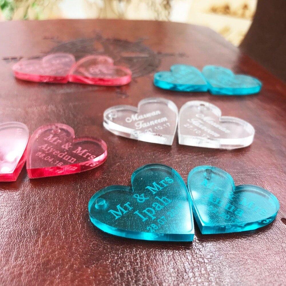 100 pces personalizado cristal vermelho coração azul personalizado amor coração lembranças de casamento mesa decoração centerpieces presente favor