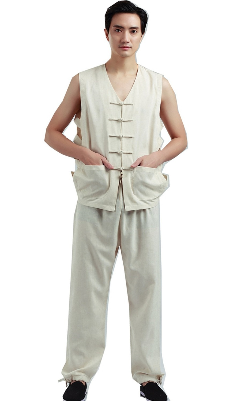 Shanghai Story Mens chino Vintage Lino chaleco traje trabajador sin mangas tanque + Pantalones ropa conjunto verano ropa Casual