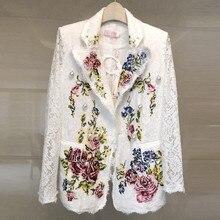2019 Blazer de piste femmes à manches longues crantée fleur broderie dentelle manteaux perles Blazer col châle poche Floral vestes manteau