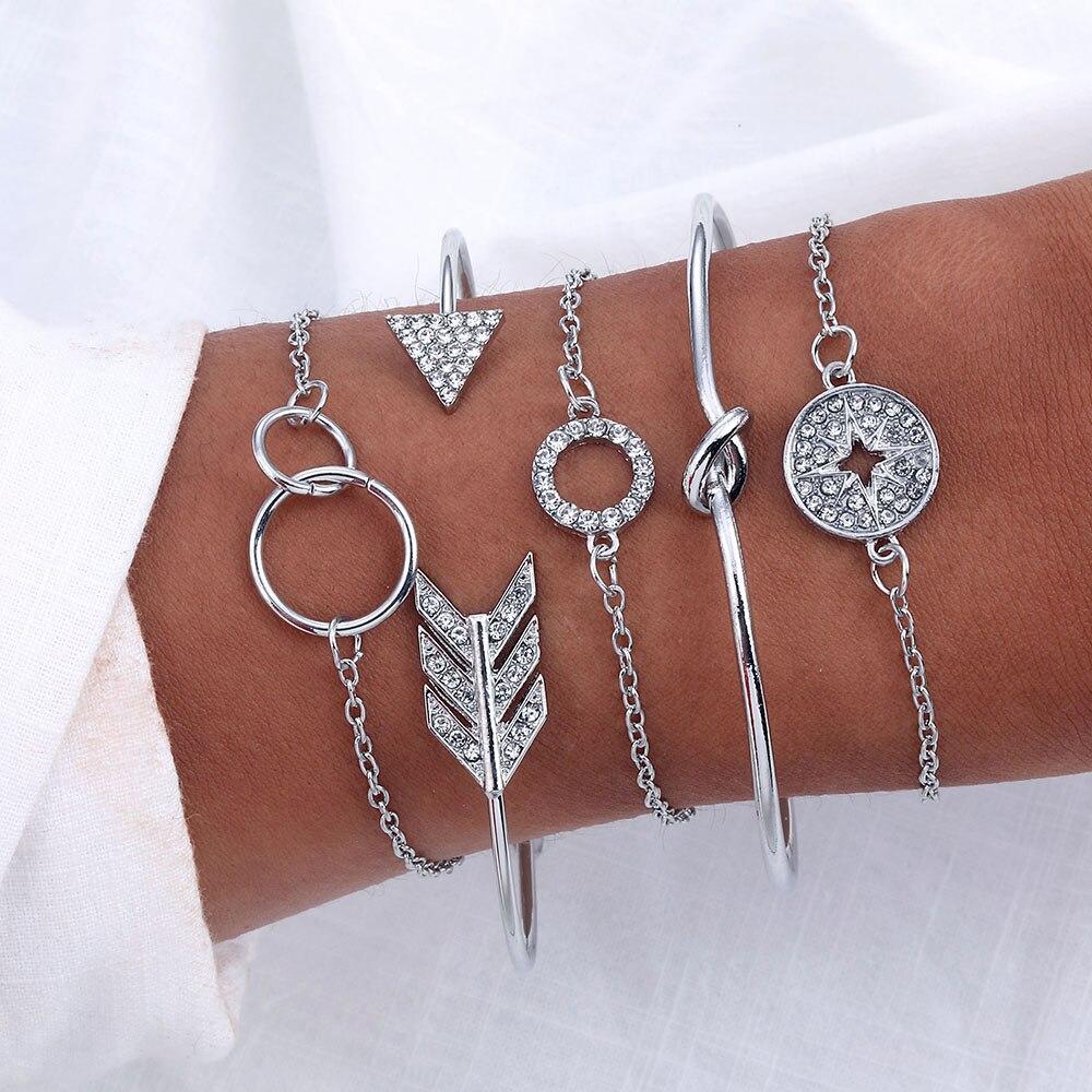 5 PCS Böhmischen Pfeil Knoten Kompass Manschette Armreif Armbänder Frauen Mädchen Strass Kristall Gold Silber Armbänder Sets Schmuck Geschenke