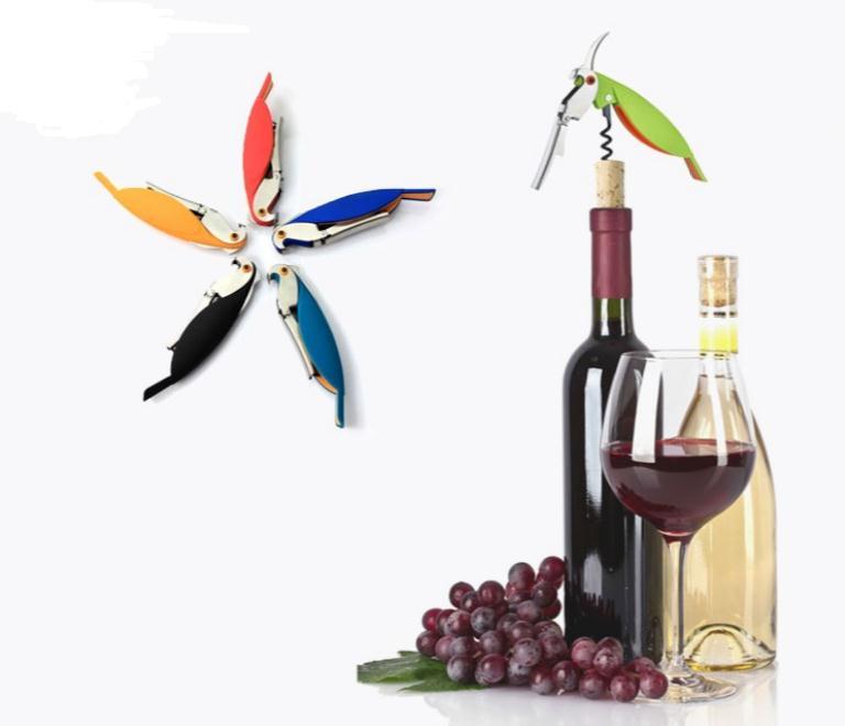 Abrebotellas Parrot sacacorcho de acero inoxidable para latas, jarras, abridores de cerveza vino tinto con cuchillo Hippocampal, herramientas de BAR SN1323