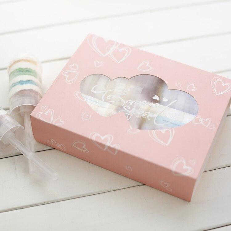 10 unids/lote-22*17*5,5 cm ventana transparente Rosa pastelería caja de regalo 6 grano Puff caja Pushcake DIY embalaje de hornear