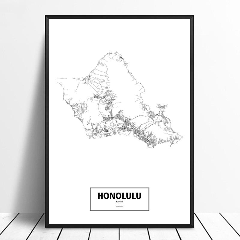 HONOLULU, HAWAII, VEREINIGTEN STAATEN Schwarz Weiß Custom World Stadt Karte Poster Leinwand Druck Nordic Stil Wand Kunst Wohnkultur