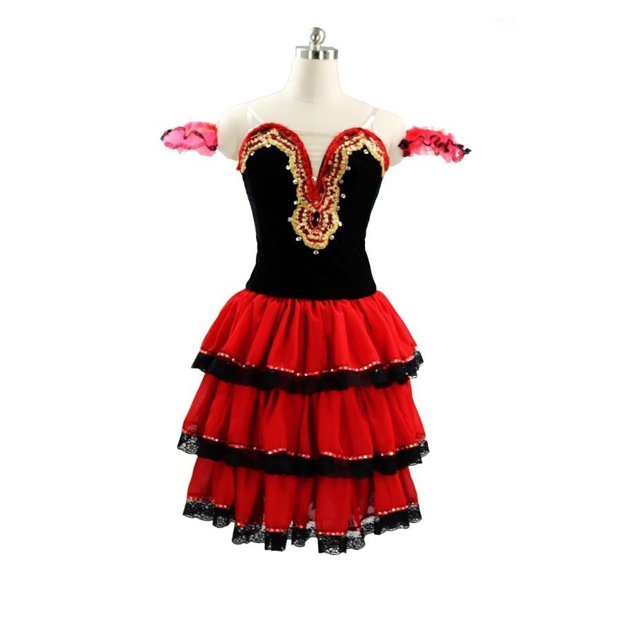 Don Quixote-فستان رقص الباليه الاحترافي ، فستان توتو طويل الأكمام من الدانتيل ، زي الباليه الإسباني ، أحمر وأسود