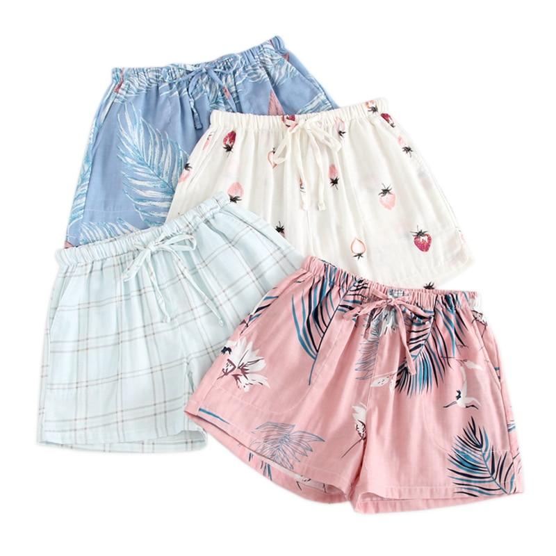2020 Summer hot sale fresh shorts sleep bottoms women soft 100% gauze cotton women home pajamas pants women shorts pyjamas