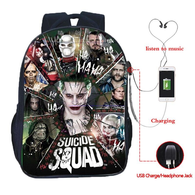 Suicide Squad Joker Harley Quinn mochila de carga Usb moda hermosa carga Usb mochilas escolares hermosos estudiantes mochilas