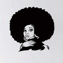 Autocollants muraux femme africaine   Autocollants en vinyle fille Tribal africaine, décor pour Salon de coiffure et de beauté, décor pour maison