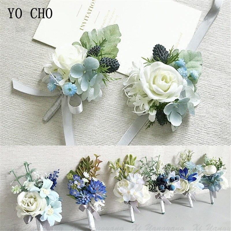 Yo cho acessórios de casamento boutonnieres homem fita rosas brancas azul orquídea corsages casamento boutonnieres noivo suprimentos de casamento