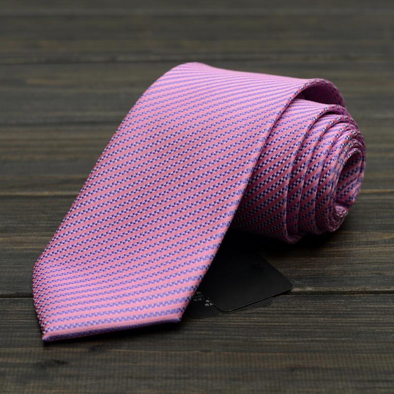 2019 New Mens Business Tie Rose Striped Jacquard Weave Wedding Necktie 8CM Classic Corbata Gravata Male Suit Accessories