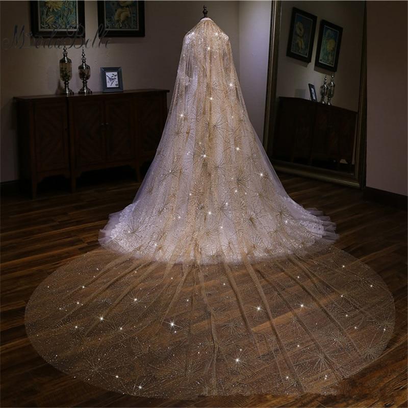 Modabelle venta al por mayor Champagne velo de novia 3,5 M de longitud 3M de ancho lujoso velo de boda Catedral brillante BlingBling hecho a medida