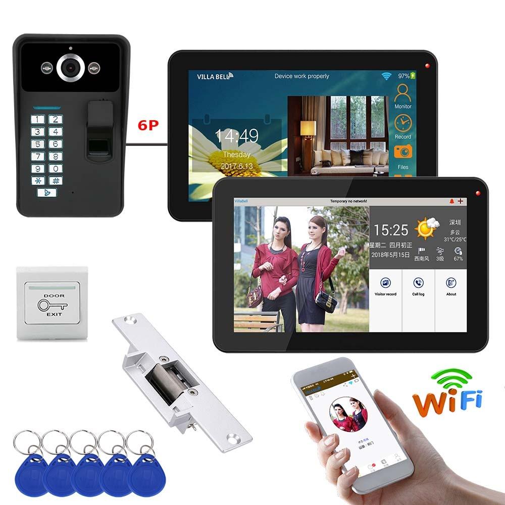 2 monitores de 9 pulgadas con cable/Wifi inalámbrico RFID contraseña Video puerta teléfono Sistema de portero automático timbre con Cerradura eléctrica