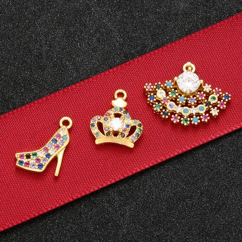 Colgante ZHUKOU de alta calidad con forma de corona de tacón alto para joyería collar pendientes accesorios modelo: VS452