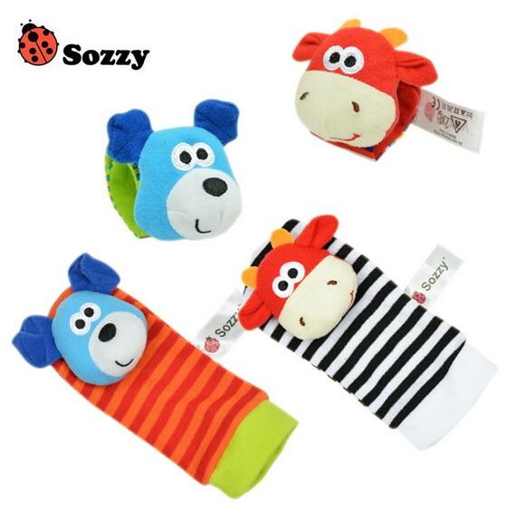 Lote de 4 Uds. De calcetines para bebé, calcetines de animales de juguete, cascabeles para recién nacidos, regalo, envío gratis SZ02