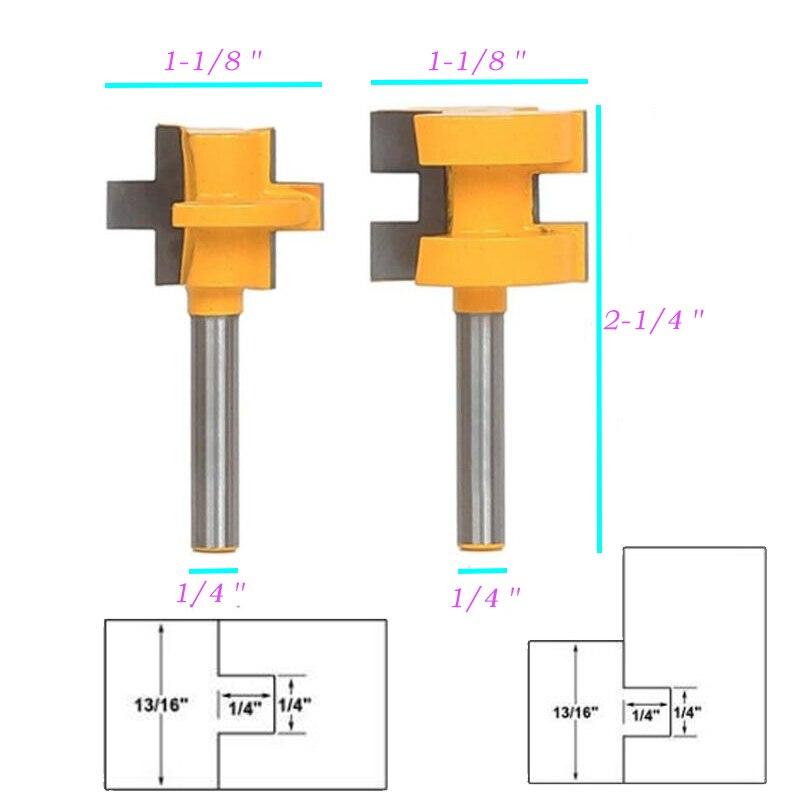 "Alta calidad 2 piezas gran corona moldeado enrutador Bit 1/4 ""vástago lengua ranura línea cortador duradero"