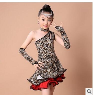 Free shipping rumba latin dance dress tango samba 100-160cm leopard print 7 size fashion professional girl child dress costume
