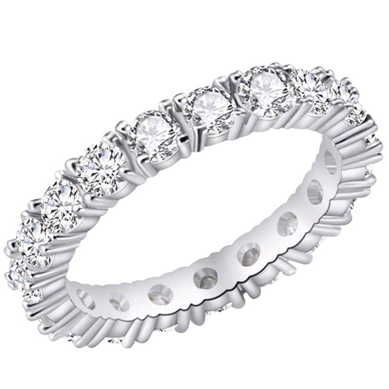 Женское кольцо с инкрустацией белого цвета, 2018