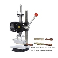 5x10cm Manual Hot Foil Stamping Machine Depth Adjustable Characters T-slot 110V PVC Leather PU Paper Bronzing Tool Embosser