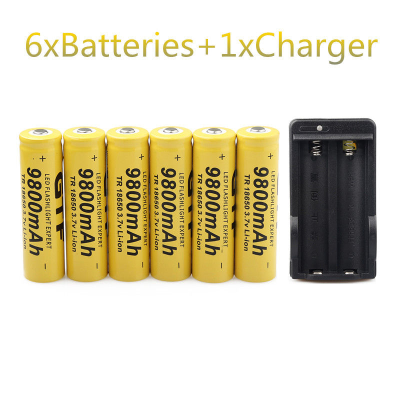 GTF 6 шт 3,7 В 18650 батарей 9800 мАч литий-ионная аккумуляторная батарея для фонарика + зарядное устройство ЕС