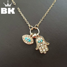 New Fashion Gold Silver Turkey Blue Eye Hamsa Hand Fatima Palm Necklac For Women Jewelry Wholesale Good Luck Chain Necklace