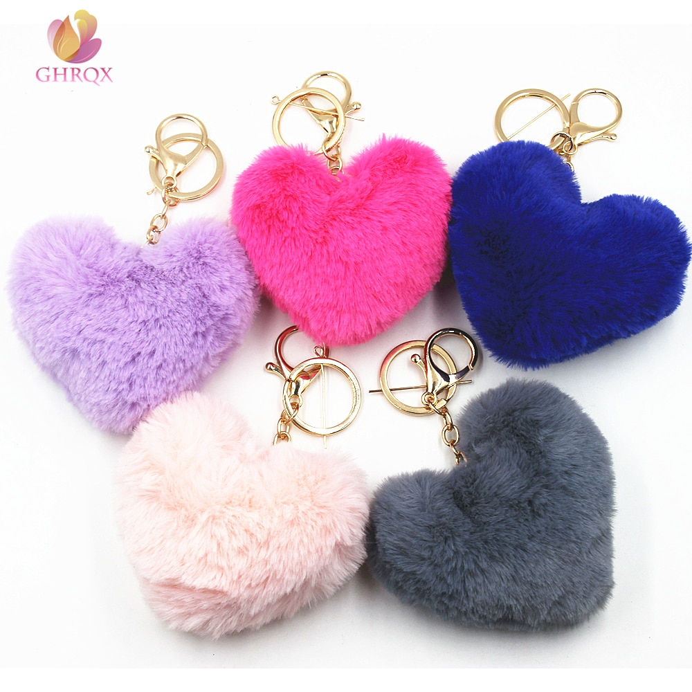 GHRQX nueva hermosa forma de corazón pompones imitación Bola de pelo de conejo juguete muñeca bolsa coche llavero monstruo llavero joya de regalo