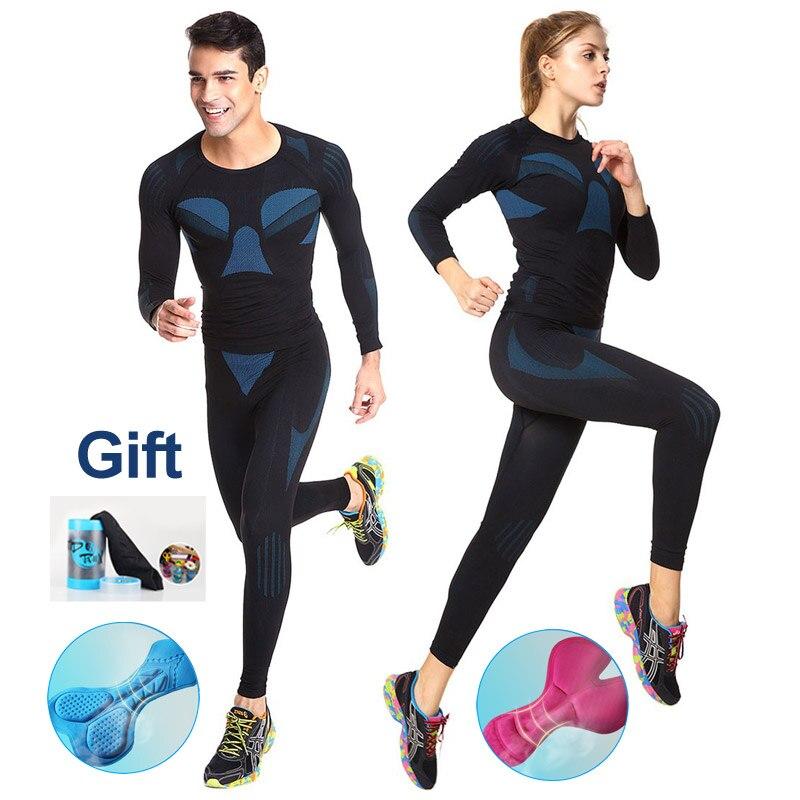 Conjunto de roupa de ciclismo unissex, camada de compressão, roupa íntima, térmica, masculina e feminina, para o inverno
