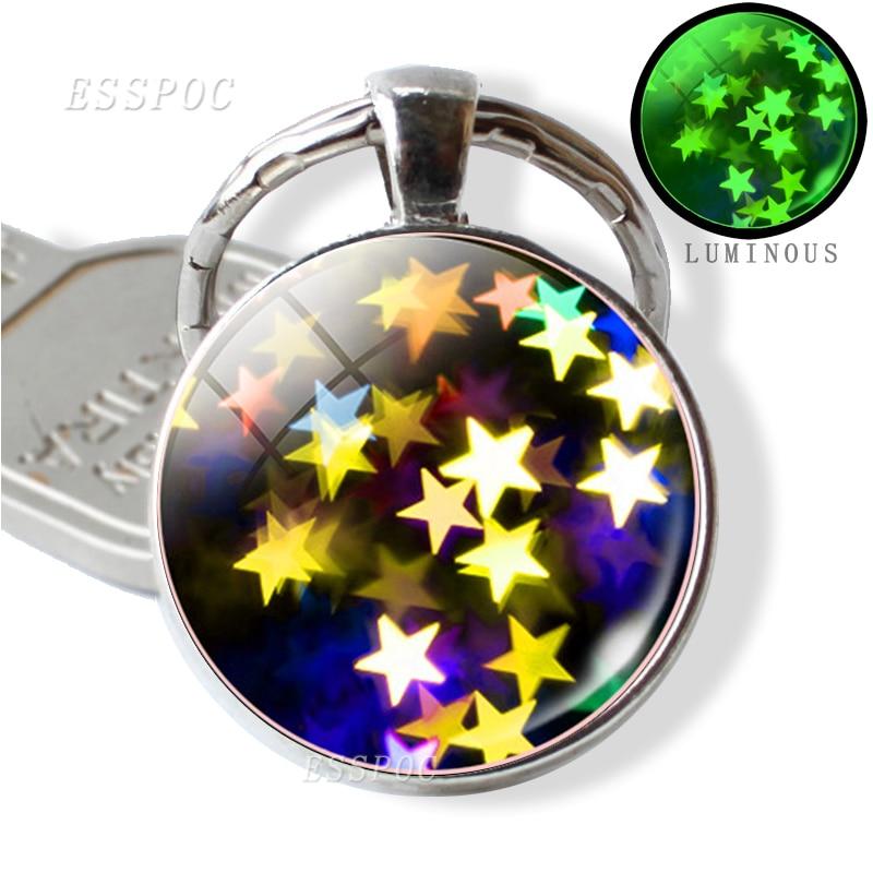 Brilho no escuro chaveiro de cabochão de vidro luminoso pingente brilhante estrelas metal chaveiro dia das mães artesanal quente-presentes de coração